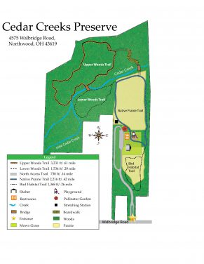 Cedar Creeks map Wood County Park District