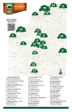 Map of park locations in Wood County