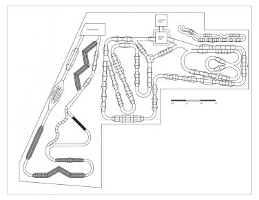 rendering of the features on the pump tracks at the Rudolph Bike Park
