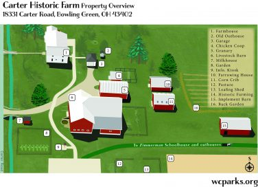 Overview Map of Carter Farm outbuildings